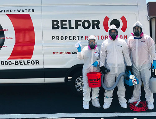 BELFOR Property Restoration Cleaning and Sanitizing Crew
