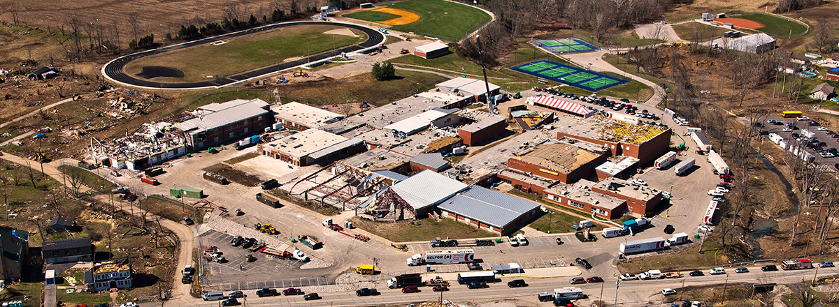 Restoration of Henryville Junior High school after tornado damage